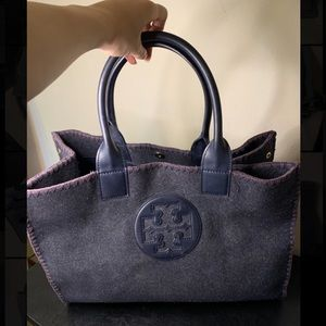 Tory Burch Ella Large Wool and Leather Tote